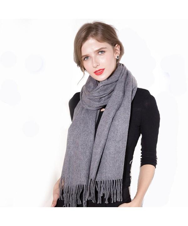 Zegailian Women Wraps Winter Warm Cashmere Imitation Solid Color Fashion Scarves - Dark Gray - CZ186XMTYR9