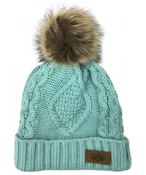 Plum Feathers Soft Thick Faux Fur Pom Pom Fleece Lined Skull Cap Cuff Beanie - Mint Cable - CS1805DCD87