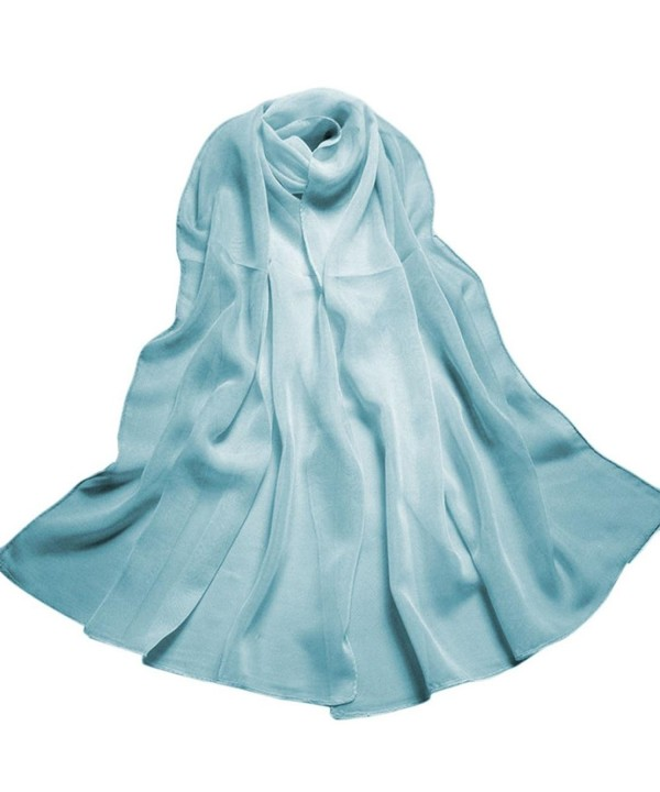 Creazy Fashion Lady Gradient Color Long Wrap Women's Shawl Chiffon Scarf Scarves - Sky Blue - CZ12HF67DJT