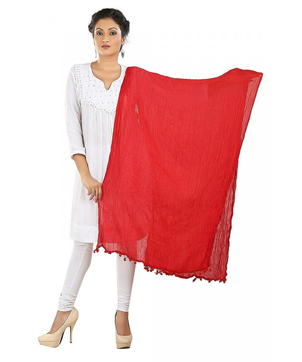 Dancing Girl Ethnic Cotton Dupatta Scarf Chunni for Women - Red - CP183GX5CLA