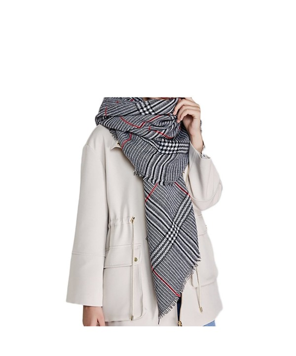 Winter Warm Plaid Blanket Scarf Oversized Shawl Cape White and Black Plaid Best Gift - CN187R9LLE6