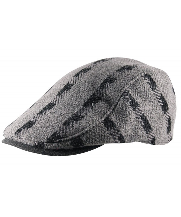 Men's Flat Cap Hat Cheviot Stripe Pre Curved Lined Gatsby Golf Newsboy Wool Mix - Grey and Black - CI12O5915KI