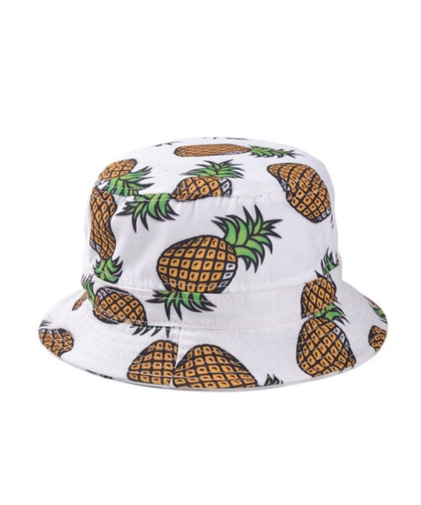 Girls Ladies Headwear Pineapple pattern Wide Rim Flat top fishing Bucket Hat Sun Hat - White - CR17YT2577K