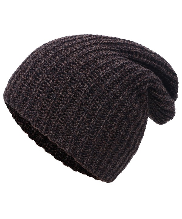 Simplicity Men / Women's Thick Stretchy Knit Slouchy Skull Cap Beanie - Brown - C112MYKM8QG