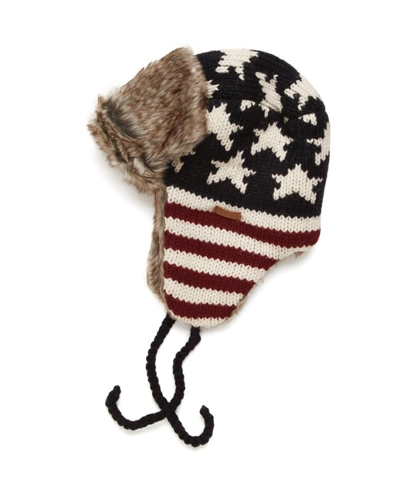 DeLux Heritage Collection Americana Flag Trapper Hat - C612O2TDWKI