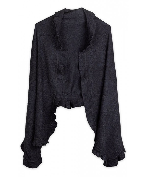 Debra Weitzner Women's Cashmere-feel Knit Shawl Cape with Ruffled Trim - Black - CU12BTCWISV