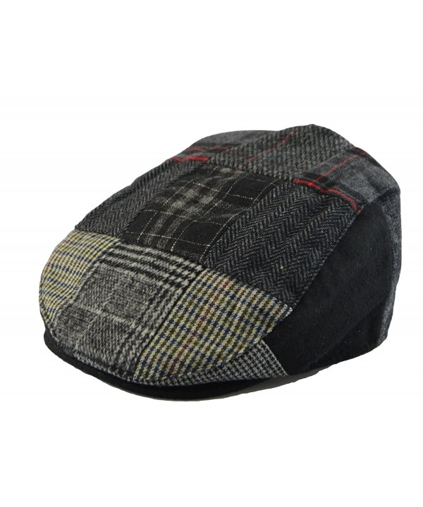 Mens Winter Plaid Tweed Flat Ivy Driver Hat Cabbie Patch Work Ivy Cap M- L- XL - Black(1579) - CM126LDN8P5