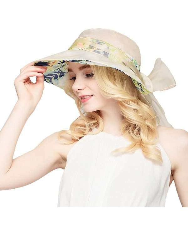 Maitose Women's Wide Brim Mulberry Silk Sun Protection Hat - Beige - CG11AZ6GMO3