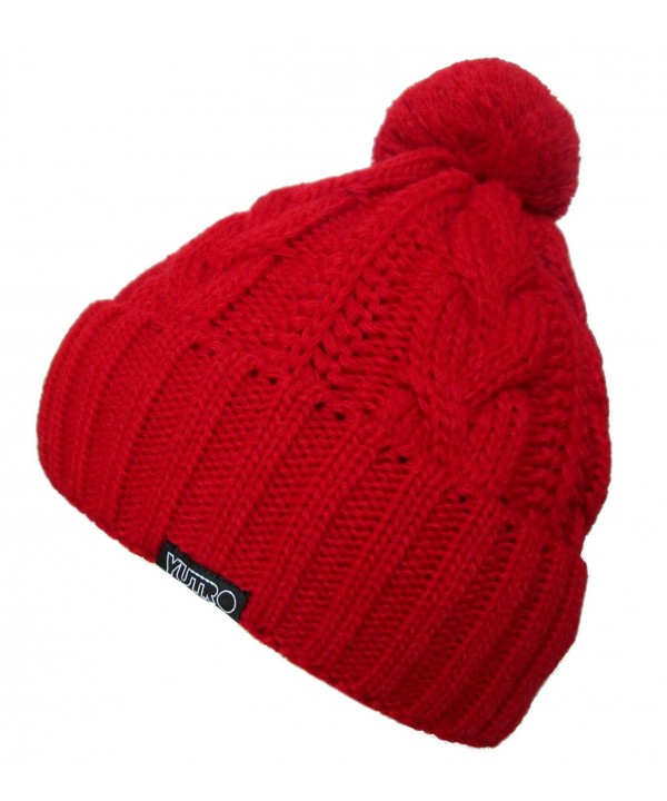 YUTRO Fashion Classic Cable Wool Knitted Winter Ski Beanie Hat - Red - CU11K4273XX