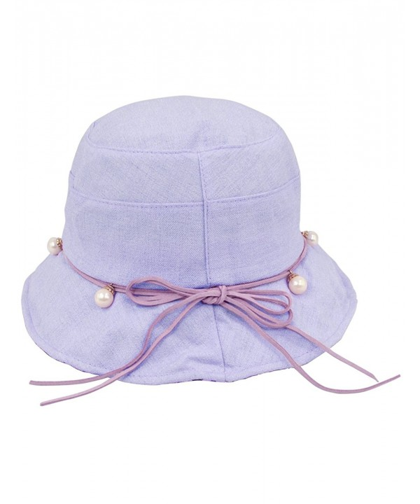 Dahlia Women's Summer Sun Hat Pearl Drop Accented Bucket Hat - Lavender - CC12F7EAO41