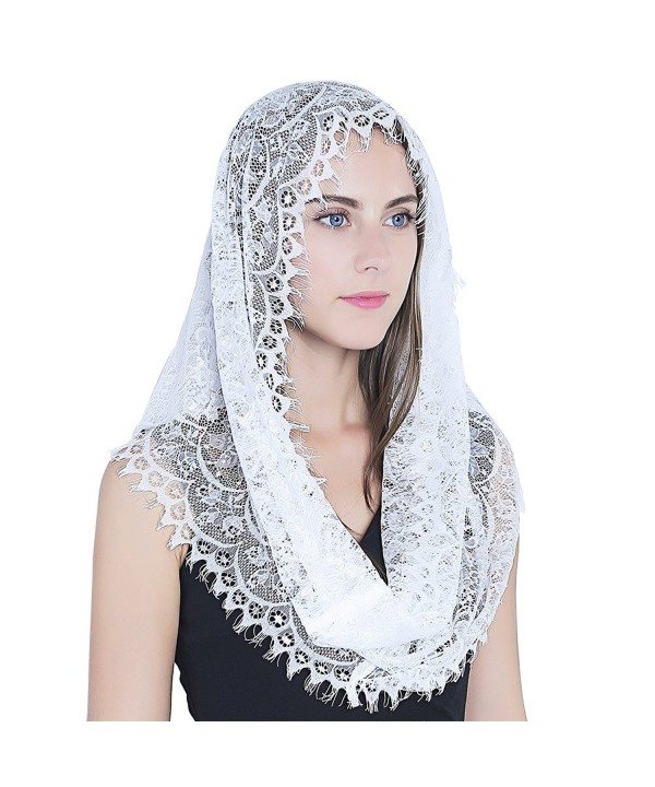 Infinity Scarf Mantilla - Catholic Veil Church Veil Head Covering Latin Mass - White - CC184W43GKW