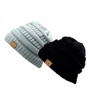 Trendy Warm Chunky Soft Stretch Cable Knit Slouchy Beanie Skully HAT20 - Black & Natural Gray - CQ11QN0SMWV