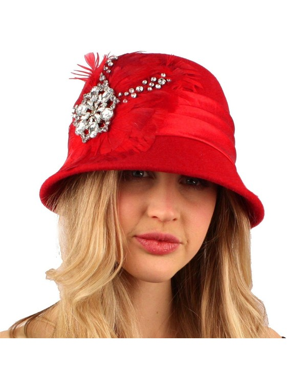 Winter Wool Feathers Rhinestones Cloche Bucket Church Hat Cap Adjustable - Red - CT11FVHEKH3