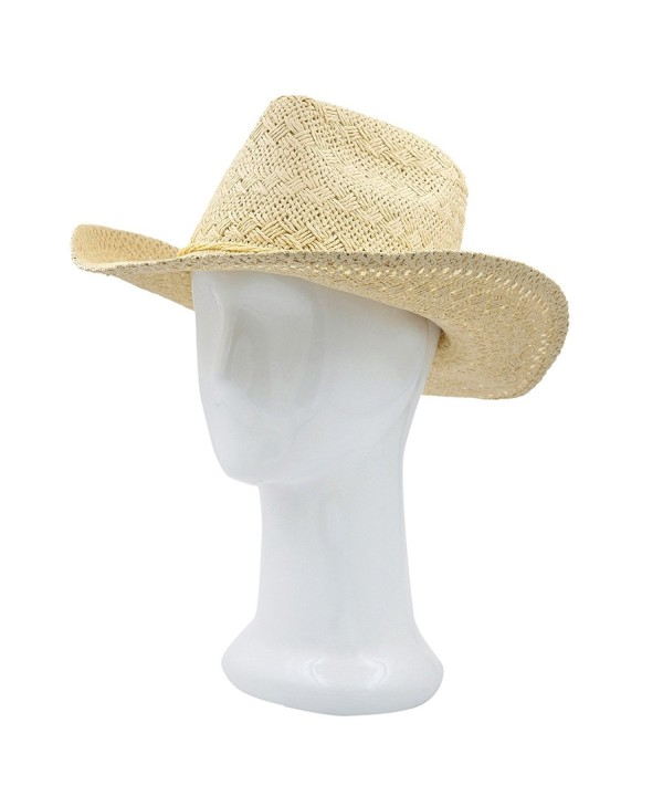 Premium Solid Color Lace Braided Straw Cowgirl Cowboy Hat - Different Colors - Beige - CQ125X59A8P
