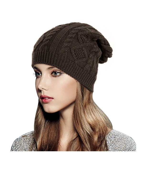Glamorstar Women Cable Knit Beanie Winter Warm Crochet Hats Chunky Stretch Ski Cap - Coffee - C6186QTY003