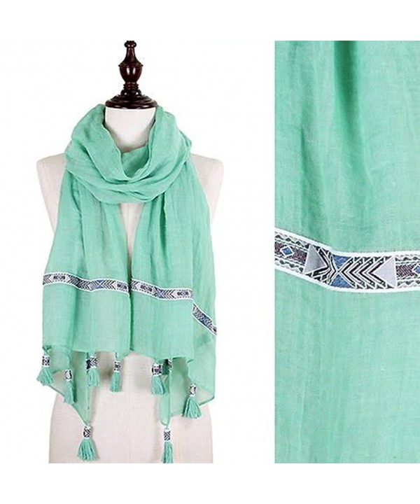 StylesILove Tribal Ribbon Tassel Wrap Scarf- 3 Colors - Mint - CV12CJM0Q75