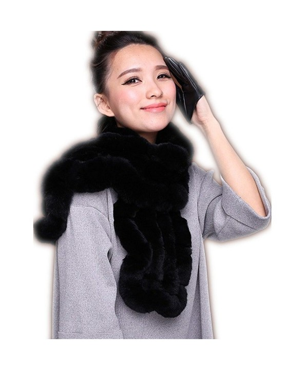 Flower Brim Real Rex Rabbit Fur Scarf for - Black - C312IYTLE3R