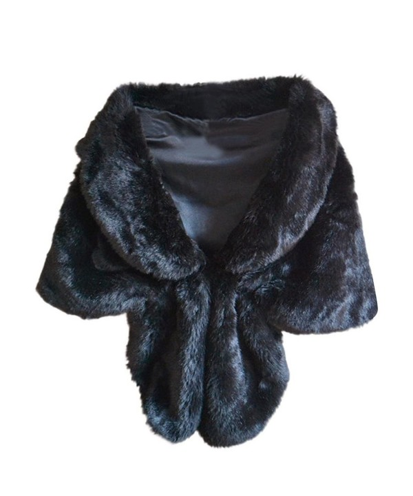 Deamyth Women Faux Fur Long Shawl Stole Wrap Shrug Fox Fur Cape Winter - Black - CD12O7C764B