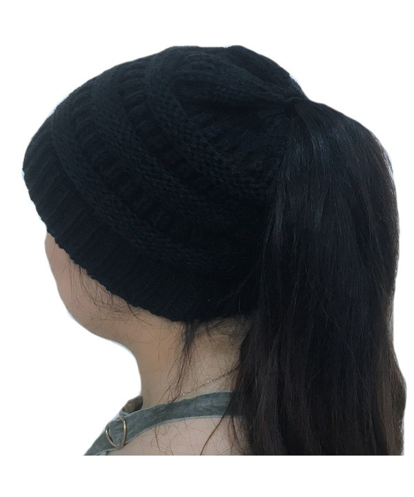 TheFound Women Winter Warm Knitted Ponytail Beanie Hat Messy High Bun Stretch Ribbed Cap - Black - CL186ANH8O8