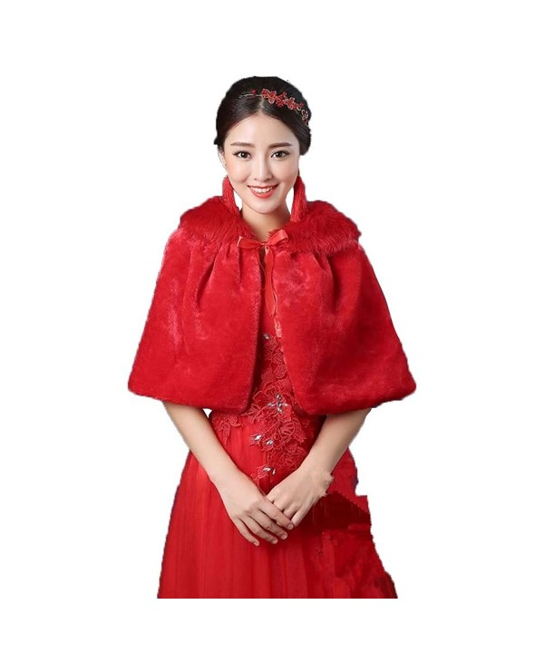 ShangShangXi Women's Faux Fur Wrap Cape Stole Shawl Bolero Jacket Coat For Wedding - Red - C1186DKZEMW