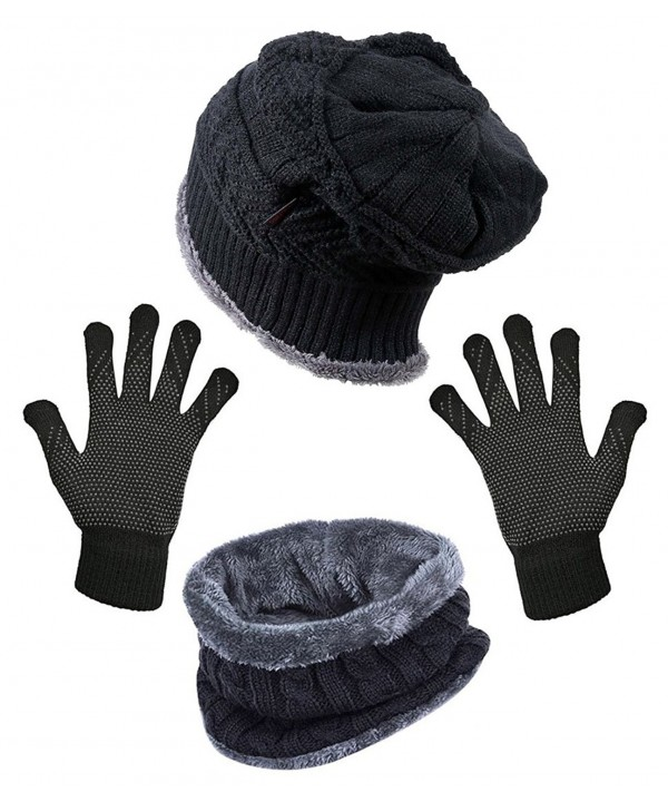 HindaWi Slouchy Beanie Scarves Mittens - Hat+ Scarf+ Gloves (Black) - CG1805YUCQZ