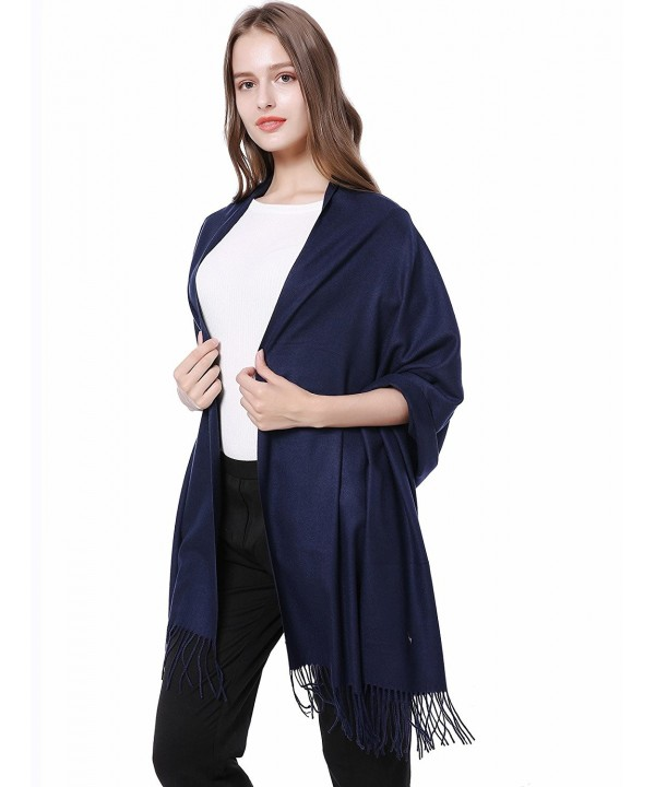 "JAKY Global Cashmere Scarf Pashminas Wraps Shawl Super Soft Warm 78"" x 27"" Scarves Women Men - Navy - CR12N9LBAV5"