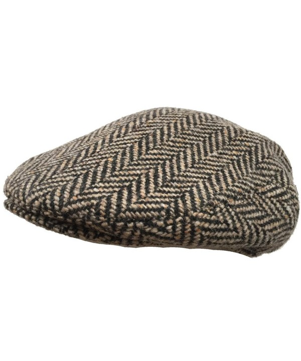 Italian Wool Herringbone Ivy Scally Cap Driver Newsboy Hat Made in Italy Henschel - Brown - CO127K6IMG7