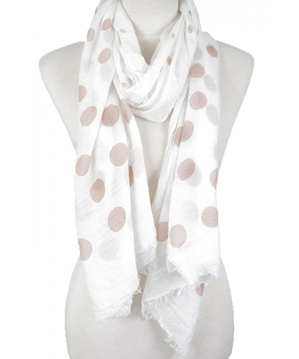 Polka Dot Scarf with Raw Edge scarf- summer scarf- peach scarf - Tan - CX18220RI63