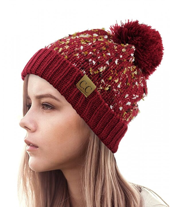 NYFASHION101 Exclusive Winter Top Pom Pom Knit Confetti Cuff Beanie Hat - Burgundy - CY1274IMUPF