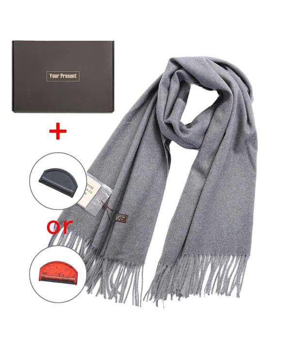 Super Women Solid Cashmere Scarf - Light Gray - CZ188ZDUWXW