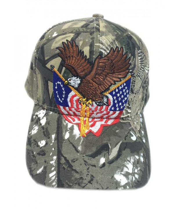 Aesthetinc Patriotic Embroidered American Eagle Clutching Double Flags Baseball Cap - Hunter Camo - CP12CKFD8IZ