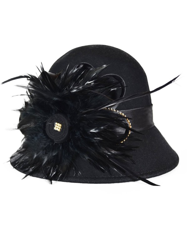 Elegant Womens Wool Feathers Cloche Bucket Rhinestone Black Hat - CR11OQ65821