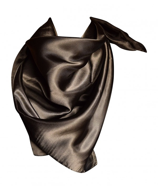 "Elegant Large Silk Feel Solid Color Satin Square Scarf Wrap 36"" by 36"" - Black - CL12NUKF2LQ"