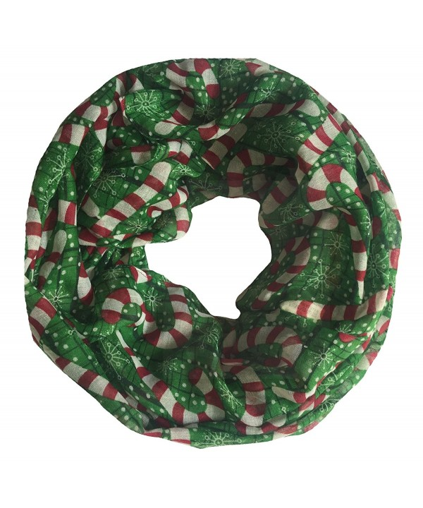 Lina & Lily Candy Cane Print Infinity Loop Women's Scarf Christmas Gift Lightweight - Green/Red/White-l Size - C9127C4QU11