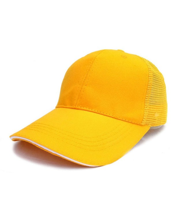 Unisex Men Women Baseball Cap Cotton Netted Trucker Mesh Blank Visor Adjustable Hat - Yellow With White Side - CL185EXZT3Y