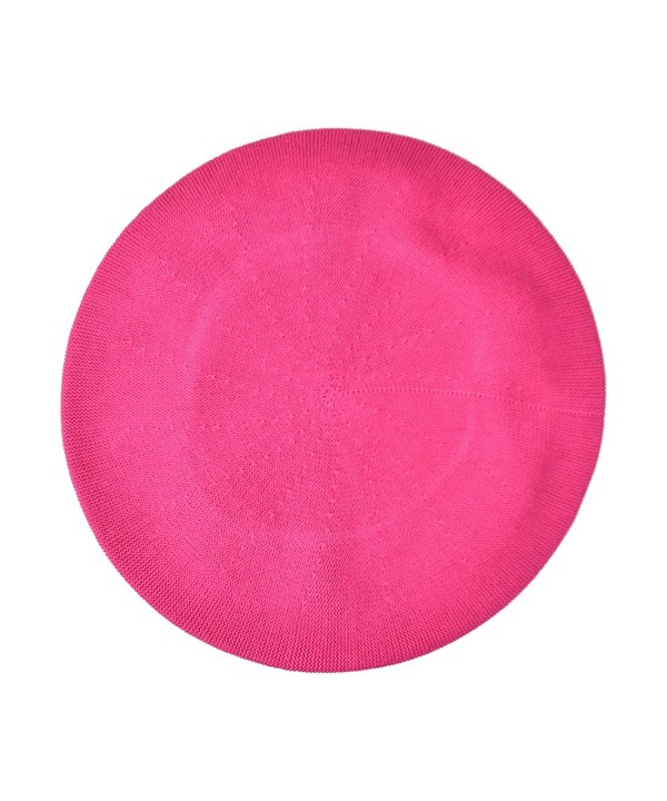 Landana Headscarves Beret For Women 100% Cotton Solid - Hot Pink - CP184OQL5MW