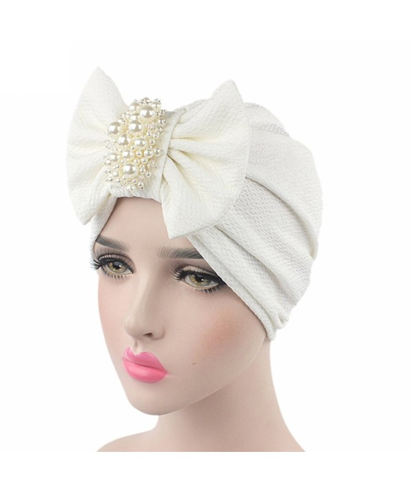 Raylans Womens Bowknot Turban Headwear Puggaree - White - CX12NA0V32H