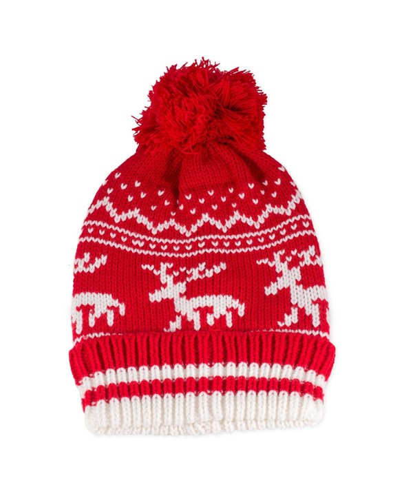 Traditional Nordic Knit Red Stocking Hat with Reindeer Design - CD11PISJXQ3