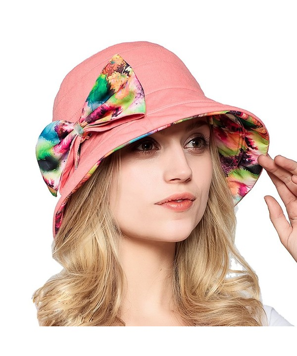 Yimidear Fashion Women Summer Beach Hat Ladies Large Brim Anti-UV Hat Foldable Sunhat - Pink - CG1218P59PN