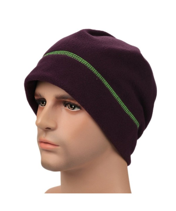 Unisex Winter Warm Fleece Lightweigh Headcovering Cap For Cancer Patients Hair Loss - Purple - CG186OQN8SL