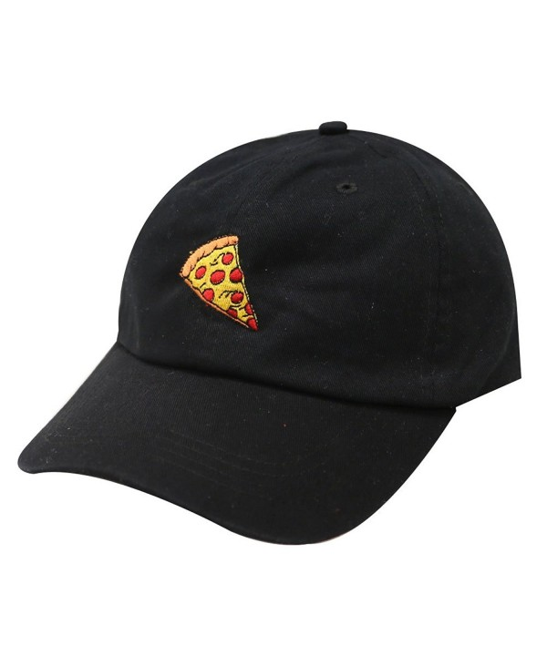 City Hunter C104 Pepperoni Pizza Cotton Baseball Dad Caps 14 Colors - Black - CO12LLUVUCV