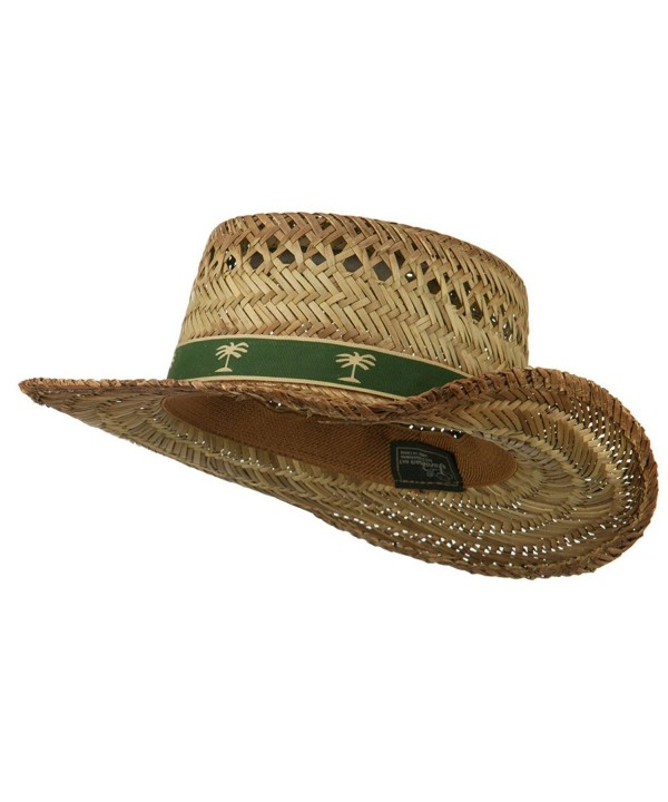 Gambler Straw Hat with Palm Tree Band - Natural - C711ND5G89D