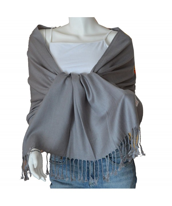 SCARF_TRADINGINC Large Soft 100% Twill Pashmina Scarf Shawl Wrap - Gray - CO11SEEQRIP