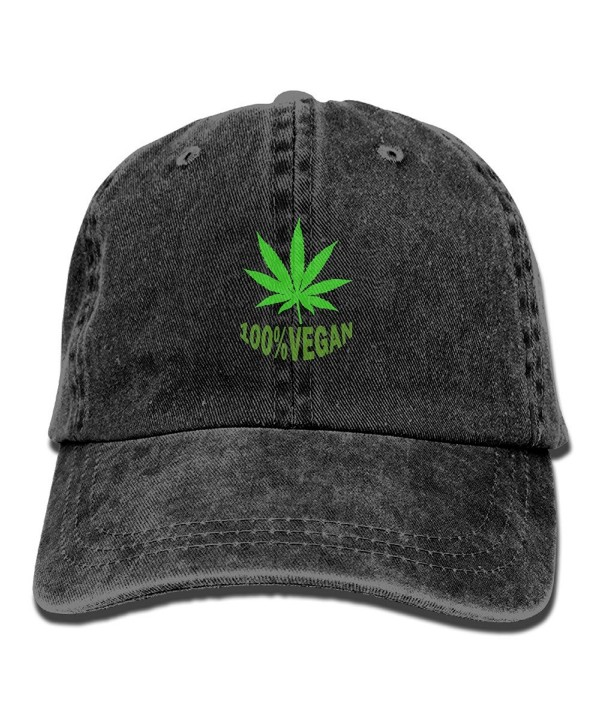 Funny 100% VEGAN Leaf Weed Adult Sport Adjustable Baseball Cap Cowboy Hat - Black - CA18699397A
