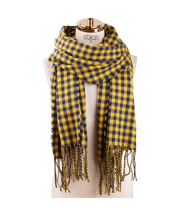 SOJOS Womens Plaid Scarf Large Long Blanket Check Wrap Shawl with Tassel SC315 - C10 Yellow&blue Plaid - CJ187G68I27