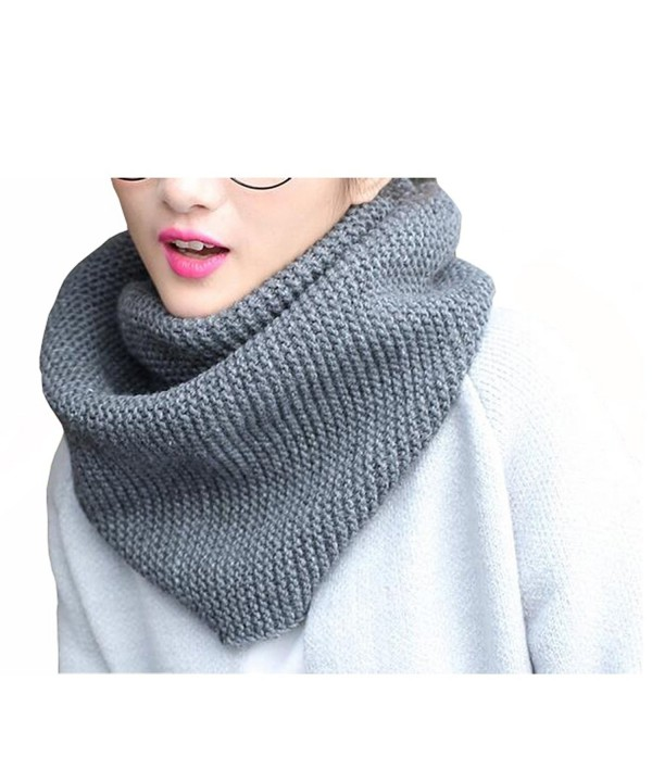 ISADENSER Womens Winter Thick Knit Infinity Scarf Fashion Circle Loop Scarves Thick Warm - A Gray - CD186W2GE77