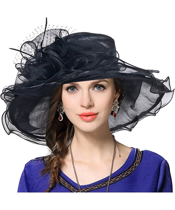 VECRY Women Church Derby Hat Wide Brim Wedding Dress Hat Tea Party Hat S019 - Black - CO12O6QRPPU