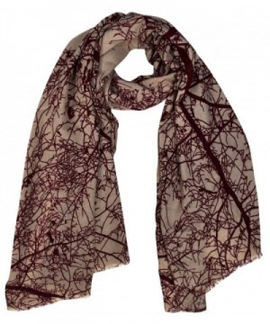 Peach Couture Soft and Sheer Wool Blend Scarf Shawl Wrap - Winter Tree Taupe - C3186ORLO2W