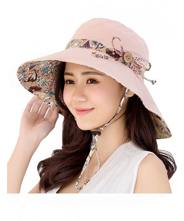 OBO Bands Womens Sun Hat Summer Packable Reversible UV Protection Wide Brim Foldable Hat - Light Pink - C117YSL56MC