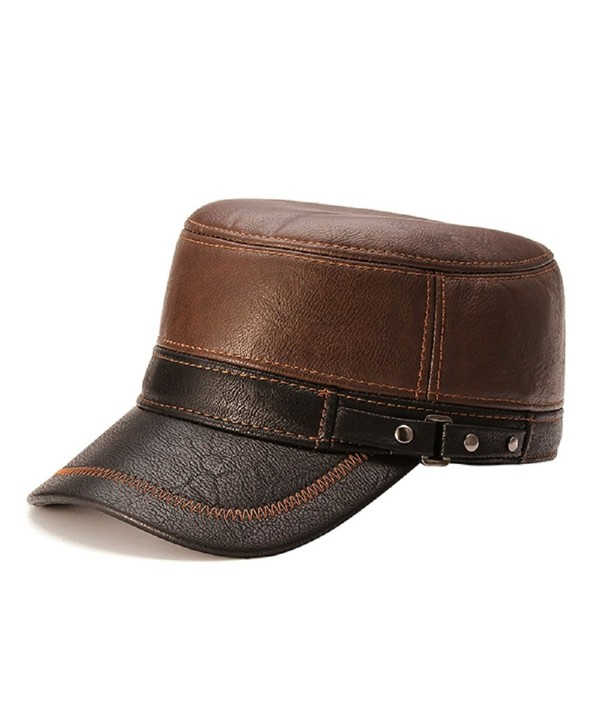 Kyson Unisex PU Leather Earflap Earmuffs Baseball Cap Black Brown Adjustable Golf Outdoor Hat - Brown - CA12NA4KUF9